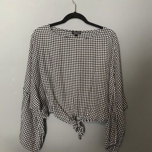 Topshop flowy gingham blouse